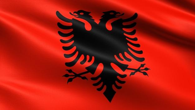 Albanien flagge, mit wehenden stoff textur