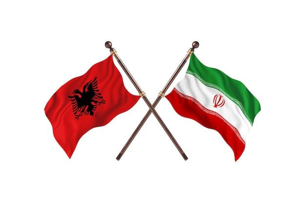 Albanien gegen iran zwei flaggen