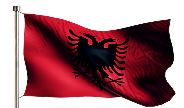 Albanien nationalflagge isoliert 3d weißen hintergrund