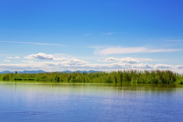 Albufera see in valencia an einem sonnigen blauen tag