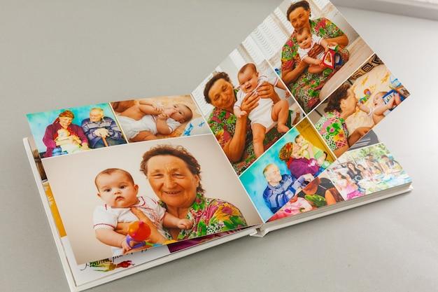 Album mit reise- und vintage-fotos, fotobuch