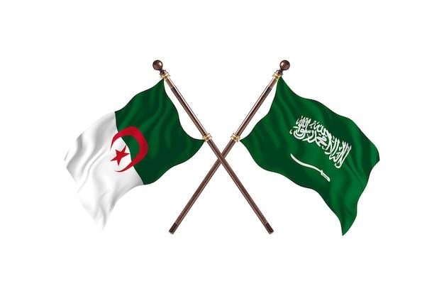 Algerien gegen saudi-arabien zwei flaggen