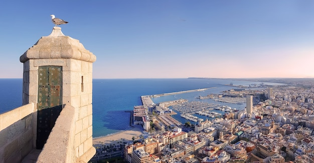 Alicante stadt mit angedockten yachten vom schloss santa barbara spanien