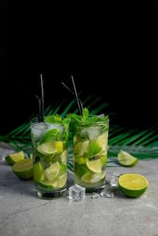Alkoholisches getränk mojito-cocktail mit limette und minze und palmblatt