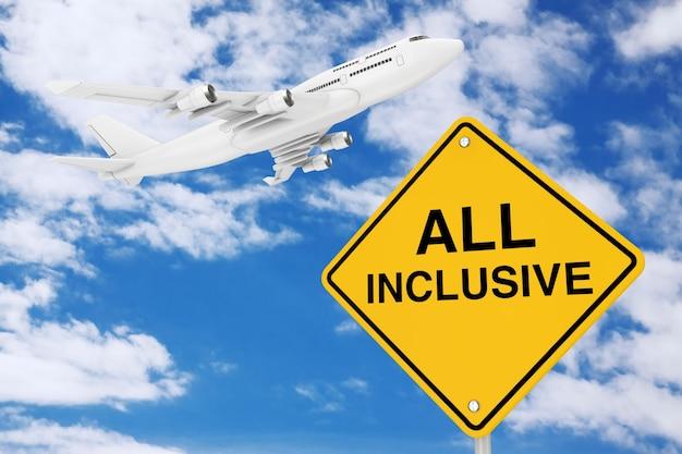 All-inclusive-verkehrszeichen mit white jet passagierflugzeug auf blauem himmelshintergrund. 3d-rendering