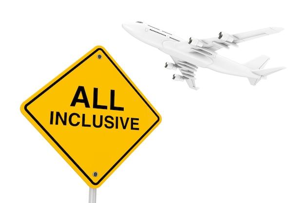 All-inclusive-verkehrszeichen mit white jet passagierflugzeug auf weißem hintergrund. 3d-rendering