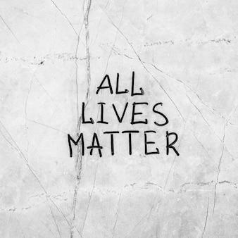 Alle leben sind wichtig auf der zementoberfläche