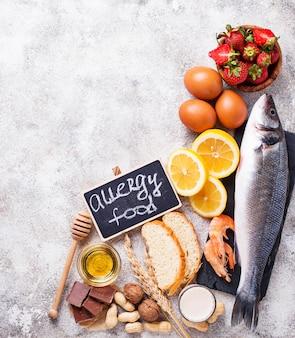 Allergie-food-konzept. allergieprodukte sortiert