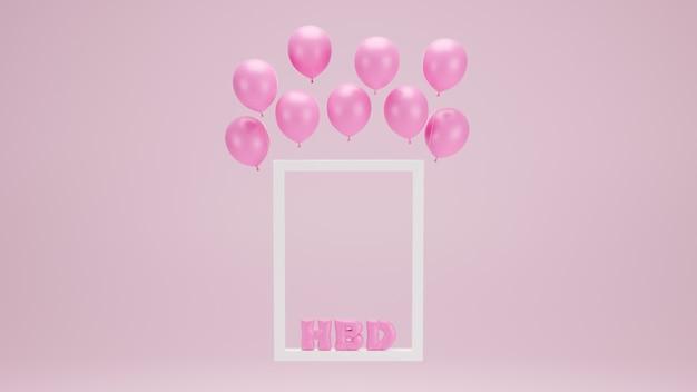 Alles gute zum geburtstagentwurf mit rahmen, ballon auf rosa schwarzgrund. 3d-rendering