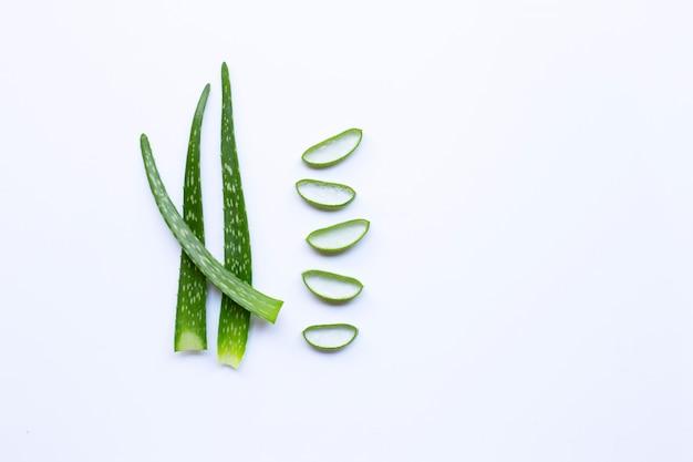 Aloe vera verlässt mit scheiben auf weißem hintergrund.