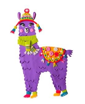 Alpaka süße lama tier handgemachte plastilin illustration