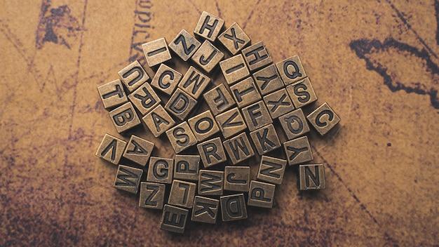 Alphabet auf weltkarte