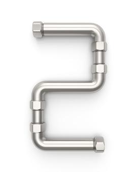Alphabet aus metallrohr, nummer 2