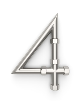 Alphabet aus metallrohr, nummer 4
