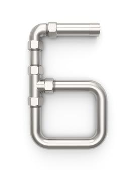 Alphabet aus metallrohr, nummer 6