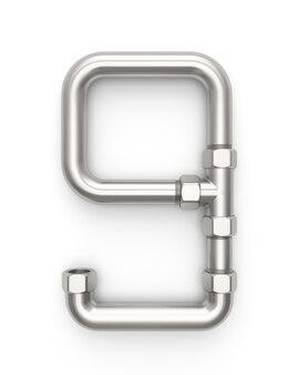 Alphabet aus metallrohr, nummer 9