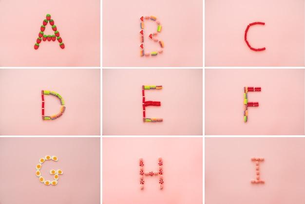Alphabet aus süßigkeiten
