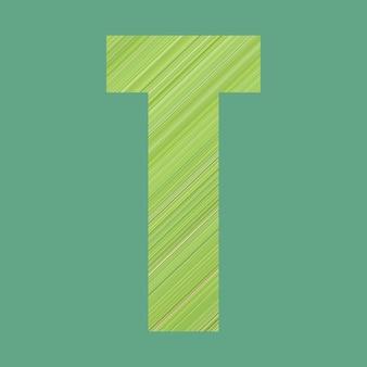 Alphabet buchstaben der form t im grünen musterstil auf pastellgrünem hintergrund