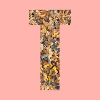Alphabet buchstaben der form t im herbststil auf pastellrosa hintergrund für design in ihrer arbeit.