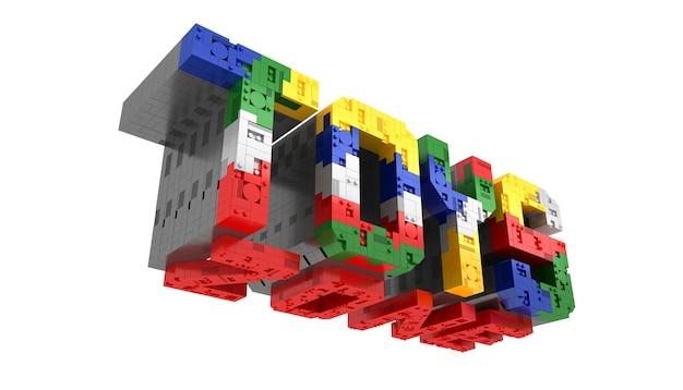 Alphabet-bunte spielwaren zonen blockieren ziegelsteinart perspektiveschriftart 3d wiedergabe