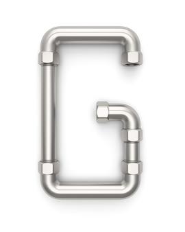 Alphabet gemacht vom metallrohr, wiedergabe des buchstaben g 3d