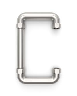 Alphabet hergestellt vom metallrohr, wiedergabe des buchstaben c 3d