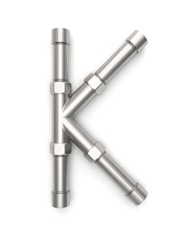 Alphabet hergestellt vom metallrohr, wiedergabe des buchstaben k 3d
