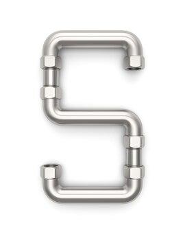 Alphabet hergestellt vom metallrohr, wiedergabe des buchstaben s 3d