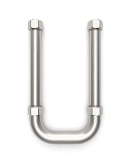 Alphabet hergestellt vom metallrohr, wiedergabe des buchstaben u 3d