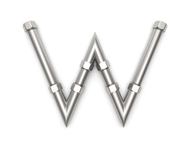 Alphabet hergestellt vom metallrohr, wiedergabe des buchstaben w 3d