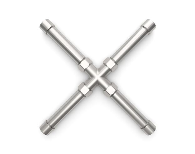 Alphabet hergestellt vom metallrohr, wiedergabe des buchstaben x 3d