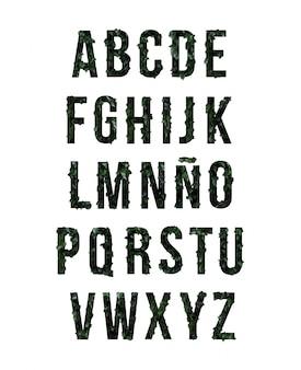 Alphabet-konzept mit dunklen botanischen