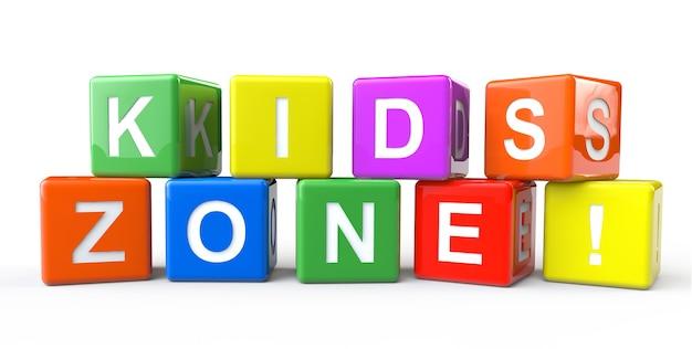 Alphabet-würfel mit kids zone-zeichen auf weißem hintergrund