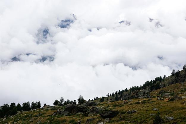 Alpine szene mit wolken unter den bergen.