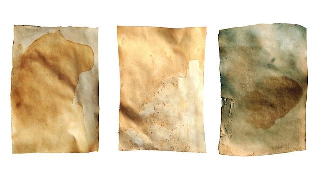 Alte blatt papier auf einem weißen hintergrund. vintage gefleckte blätter. foto in hoher qualität