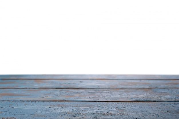 Alte blaue tischplatte für produktpräsentation auf weißem hintergrund