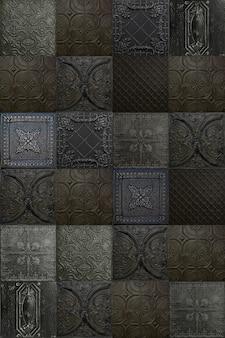 Alte dekorative deckenplatten aus bemaltem zinn