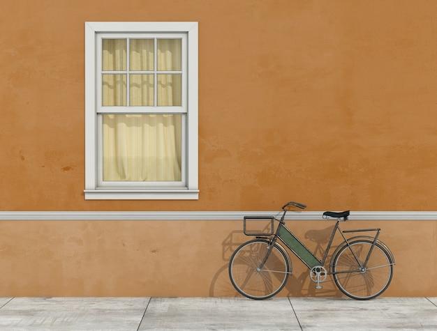 Alte fassade mit fenster und fahrrad an die wand gelehnt