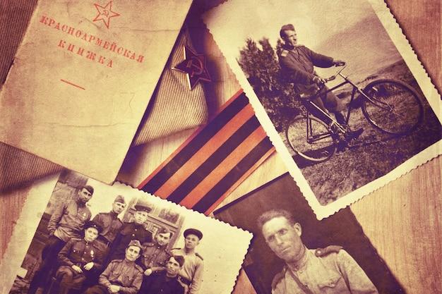 Alte fotos und armeezertifikate eines soldaten der udssr-armee während des zweiten weltkriegs. tag des sieges hintergrund.