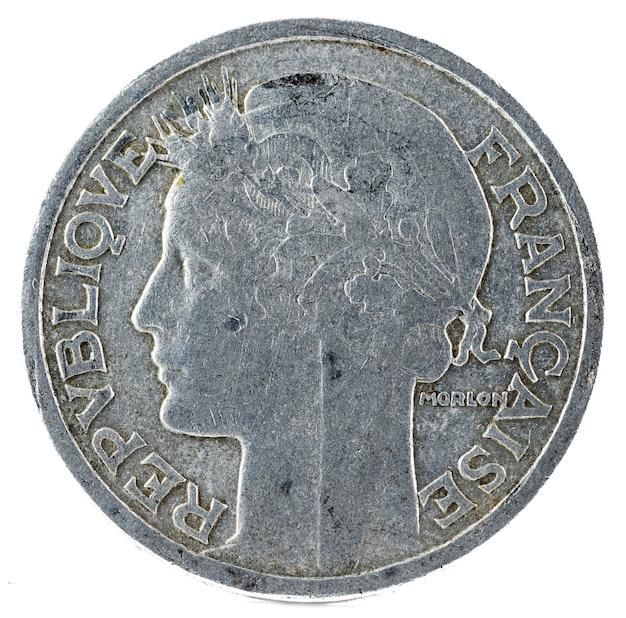 Alte französische münze. 2 franken. vorderseite.