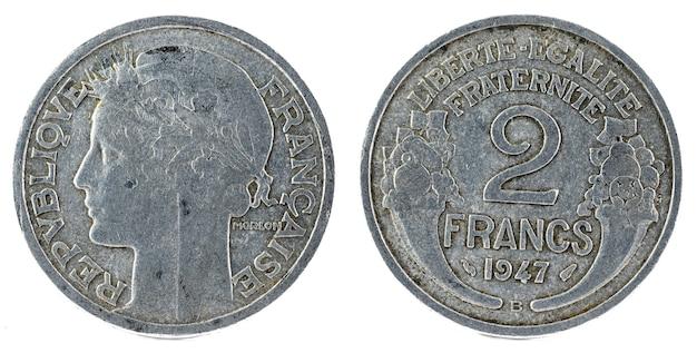 Alte französische münze. 2 franken.