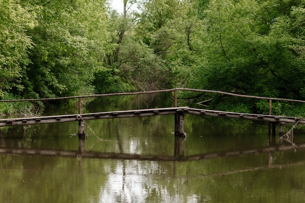 Alte holzbrücke, holzbrücke über einem kleinen fluss, brücke mit natur.