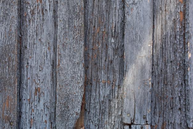 Alte holztür mit schale und gebrochenem blauem farbenhintergrund