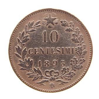 Alte italienische münze isoliert