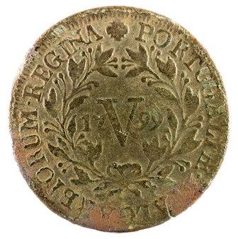 Alte kupfermünze von portugal
