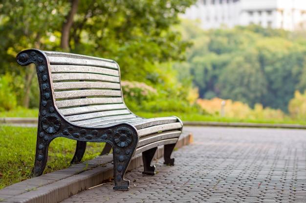 Alte leere holzbank in einem schatten des großen grünen baums am hellen sommertag. frieden, ruhe und entspannungskonzept.