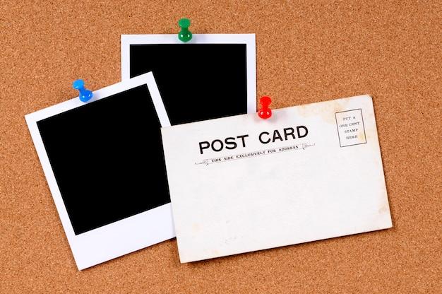 Alte postkarte mit leeren fotos