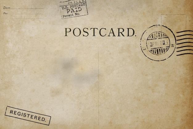 Alte rückseitepostkarte mit schmutzigem fleck