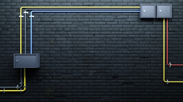 Alte schwarze backsteinmauer und kommunikation