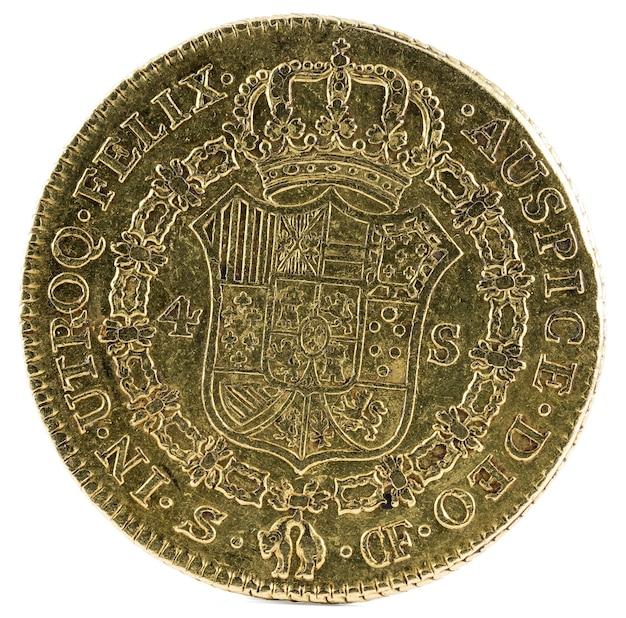 Alte spanische goldmünze von könig carlos iii.